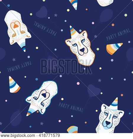 Vector Festive Fun Party Animal On Navy Blue Seamless Pattern Background. Perfect For Fabric, Scrapb