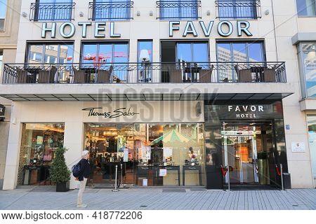 Dusseldorf, Germany - September 19, 2020: Hotel Favor In Downtown Dusseldorf, Germany. Dusseldorf Is