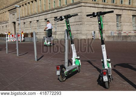Dusseldorf, Germany - September 19, 2020: Lime Electric Rental Scooters Parked In Downtown Dusseldor