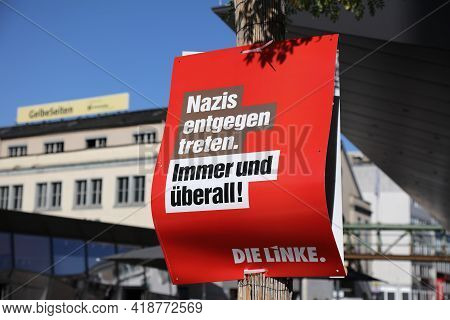 Wuppertal, Germany - September 19, 2020: Election Posters Of Die Linke (the Left) Political Party Be