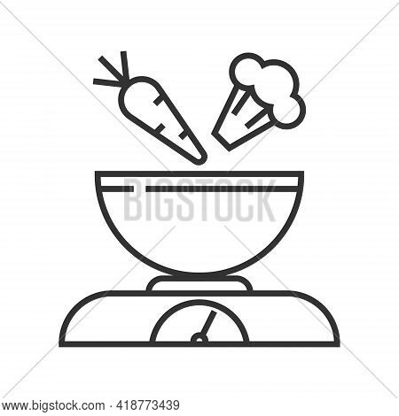 Kitchen Scales Pixel Perfect Icon Vector. Kitchen Small Appliances Line Sign. Household Tools Symbol