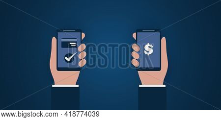 Modern Digital Money Transfer Concept Design With Two Parties Holding A Smart Phone, Sending And Rec