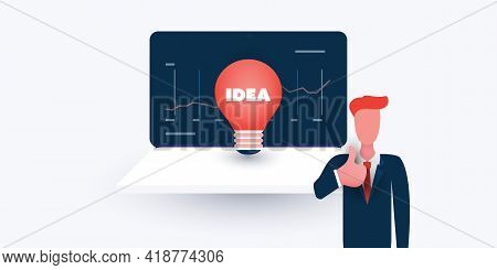 New Possibilities, Business Ideas, Hope, Dreams - Businessman Showing Thumbs Up, Laptop Computer And