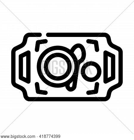 Dishware On Tray Buffet Line Icon Vector. Dishware On Tray Buffet Sign. Isolated Contour Symbol Blac