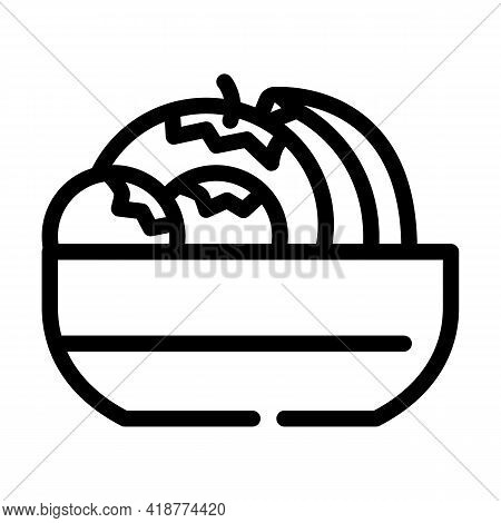 Fruits And Berries In Plate Buffet Line Icon Vector. Fruits And Berries In Plate Buffet Sign. Isolat