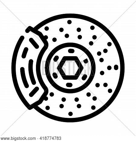 Brake Disk Car Line Icon Vector. Brake Disk Car Sign. Isolated Contour Symbol Black Illustration