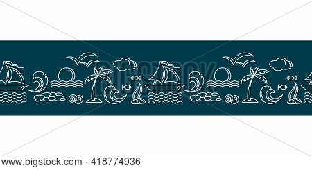 Vector Seamless Horizontal Border. Travel Vacation Doodle . Dark Blue White Banner With Yachts, Palm