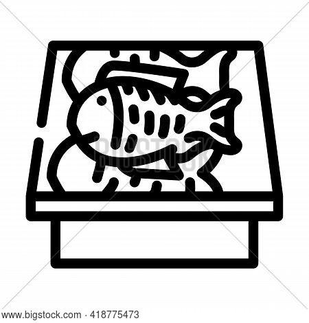 Showcase With Fish Line Icon Vector. Showcase With Fish Sign. Isolated Contour Symbol Black Illustra