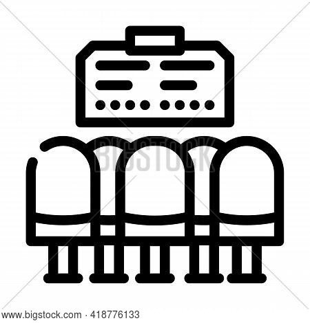 Waiting Hall Railway Station Line Icon Vector. Waiting Hall Railway Station Sign. Isolated Contour S