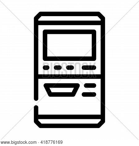 Terminal For Buying Ticket Line Icon Vector. Terminal For Buying Ticket Sign. Isolated Contour Symbo