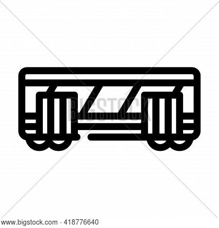 Railway Carriage Line Icon Vector. Railway Carriage Sign. Isolated Contour Symbol Black Illustration