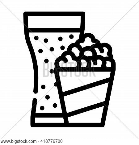 Popcorn Snack And Drink Glass Line Icon Vector. Popcorn Snack And Drink Glass Sign. Isolated Contour