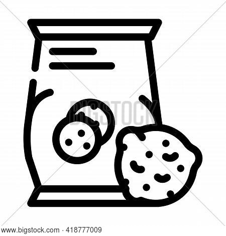 Oatmeal Cookies Snack Line Icon Vector. Oatmeal Cookies Snack Sign. Isolated Contour Symbol Black Il