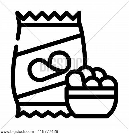 Chips Snack Line Icon Vector. Chips Snack Sign. Isolated Contour Symbol Black Illustration