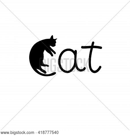 Logo Cat. Letter C Made Like A Cat. Vector Design Logo Illustration