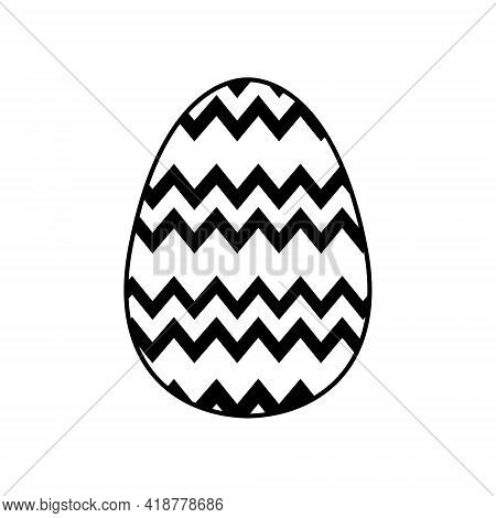 Easter Egg Icon With Glint, Simple Easter Egg Traditional With Wavy Line Patterns Symbol Vector Sign