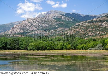 High Mountains And Growing Vegetation In The Countryside Of Madrid In Spain.