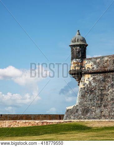Beautiful View Of The Old Fortress In El Morro, Puerto Rico During Cloudy Day.
