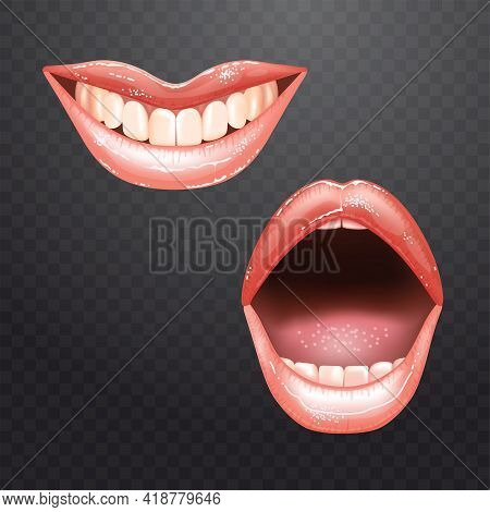 2 Shining Beautiful Female Nude Lips With Teeth For Different Designs. Pink Lipstick Color. Checkere