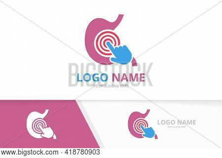 Vector Stomach And Click Logo Combination. Gastrointestinal Tract And Cursor Logotype Design Templat