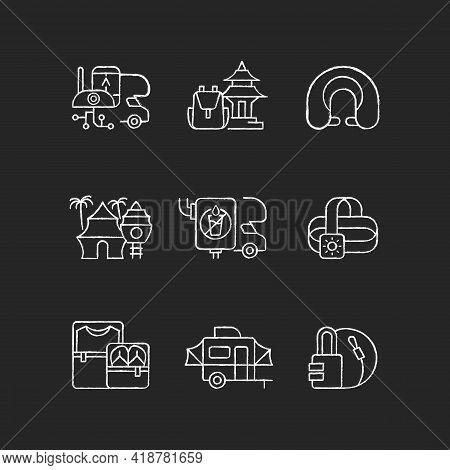 Roadtrip Chalk White Icons Set On Black Background. Travel Equipment. Spiritual Nomad. Resort For To