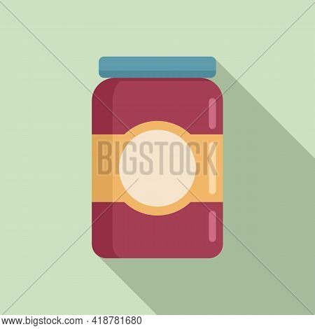 Jam Jar Icon. Flat Illustration Of Jam Jar Vector Icon For Web Design
