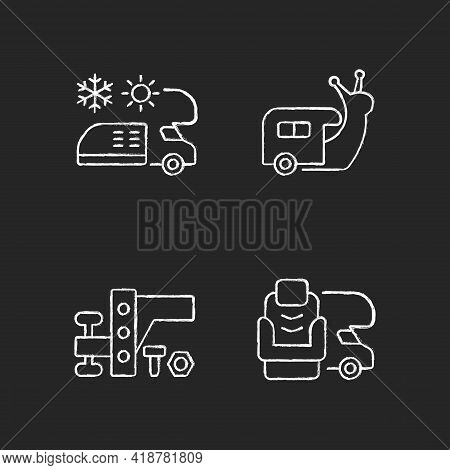 Recreational Vehicle Chalk White Icons Set On Black Background. Slow Travel. Air Conditioning And He