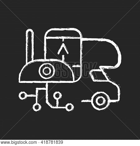 Rv Electronics Chalk White Icon On Black Background. Gadgets For Trailer, Devices For Recreational V