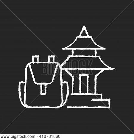 Spiritual Nomad Chalk White Icon On Black Background. Trip To Shrine For Spirituality. Visit Holy Pl