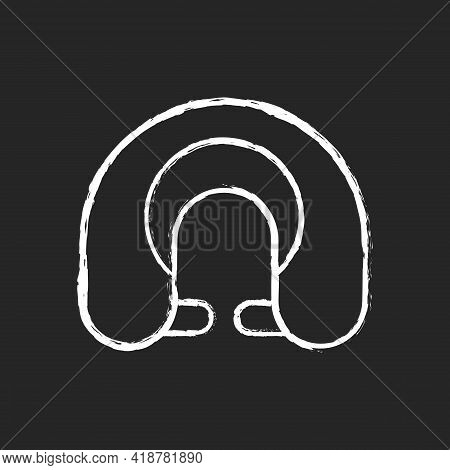 Travel Pillow Chalk White Icon On Black Background. Neck Cushion For Good Posture. Napping Accessory