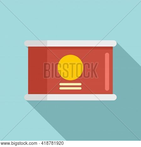 Food Tin Can Icon. Flat Illustration Of Food Tin Can Vector Icon For Web Design