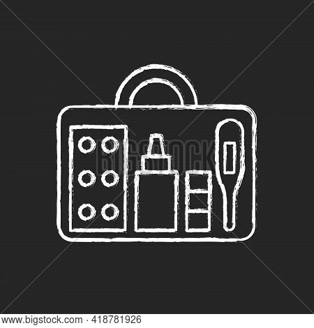 Small First Aid Kit Chalk White Icon On Black Background. Health Care Emergency Bag. Roadtrip Gear.