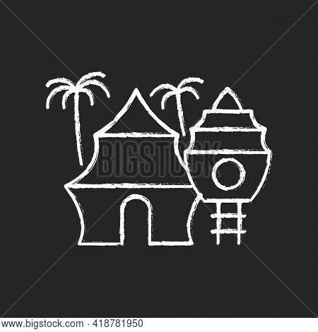 Nomadic Resort Chalk White Icon On Black Background. Hotel In Tropical Area. Hostel On Beach. Recrea