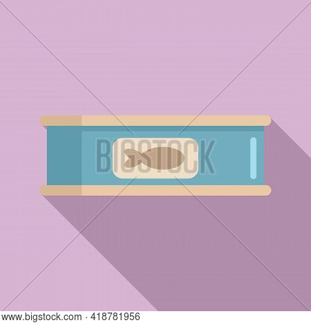 Fish Tin Can Icon. Flat Illustration Of Fish Tin Can Vector Icon For Web Design