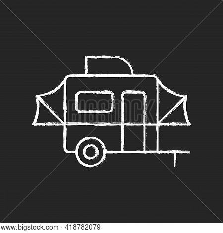 Pop Up Camper Chalk White Icon On Black Background. Campground For Tourist To Rest. Recreational Veh