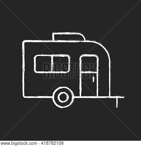 Caravan Chalk White Icon On Black Background. Trailer For Nomads Lifestyle. Roadtrip Transportation.