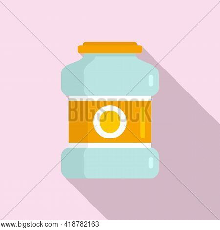 Peach Jar Icon. Flat Illustration Of Peach Jar Vector Icon For Web Design