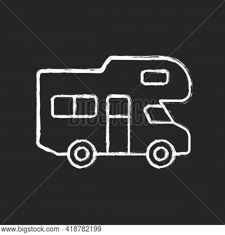 Recreational Vehicle Chalk White Icon On Black Background. Roadtrip Trailer. Van For Touring. Nomadi