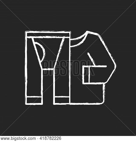 Thermal Underwear Chalk White Icon On Black Background. Sportswear And Thermo Clothing. Leggins And