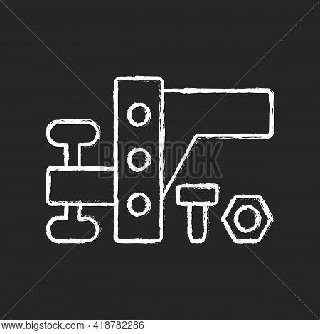 Trailer Towing Equipment Chalk White Icon On Black Background. Van Mechanism. Car Transmission. Road