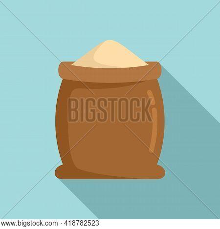 Open Flour Sack Icon. Flat Illustration Of Open Flour Sack Vector Icon For Web Design