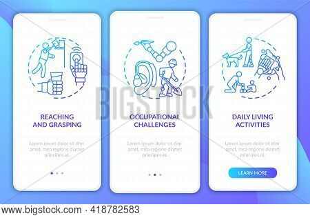 Upper-limb Implants Tasks Onboarding Mobile App Page Screen With Concepts. Daily Living Activities W