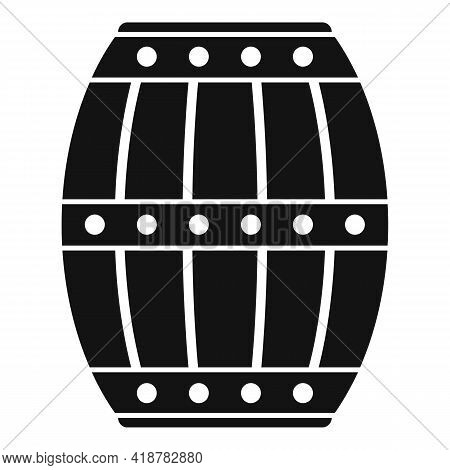 Wood Barrel Icon. Simple Illustration Of Wood Barrel Vector Icon For Web Design Isolated On White Ba