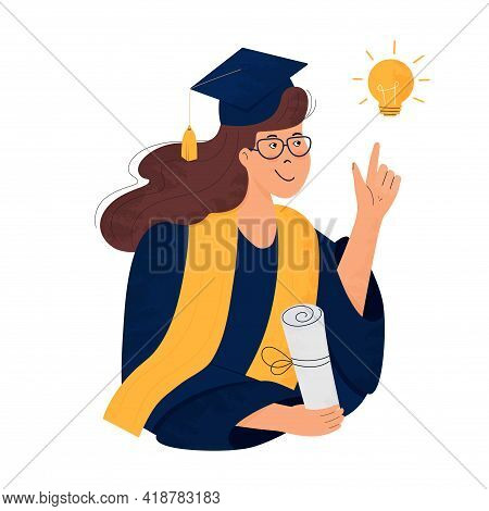 A Girl Student In Graduation Gown And Mortarboard Holds A Diploma In Her Hand. Graduate. Class Of 20