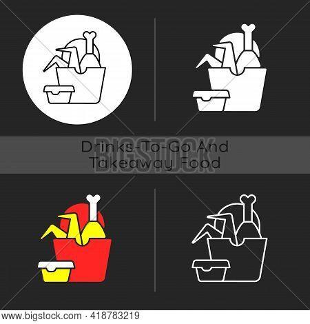 Takeaway Fried Chicken Dark Theme Icon. Crispy Chicken Wings, Legs Bucket. Fast-food Restaurant. Red