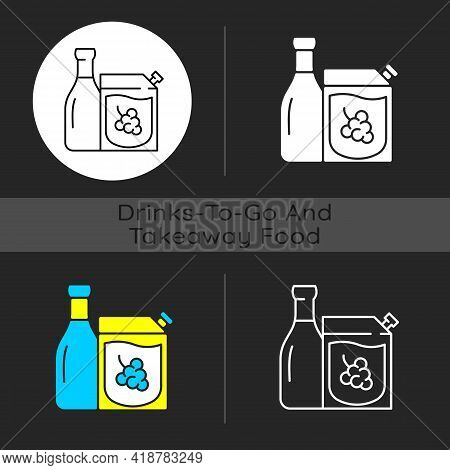 Wine To Go Dark Theme Icon. Alcohol Ordering. Red And White Wine. Moderate Drinking. Alcoholic Bever