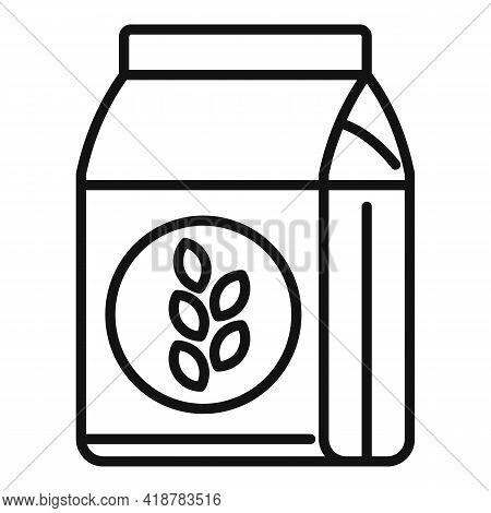 Flour Pack Icon. Outline Flour Pack Vector Icon For Web Design Isolated On White Background