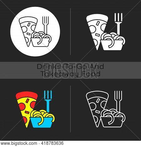 Takeaway Italian Food Dark Theme Icon. Pizza And Pasta. Italian Cuisine Delivery. Spaghetti And Meat