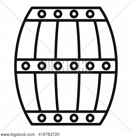 Wood Barrel Icon. Outline Wood Barrel Vector Icon For Web Design Isolated On White Background
