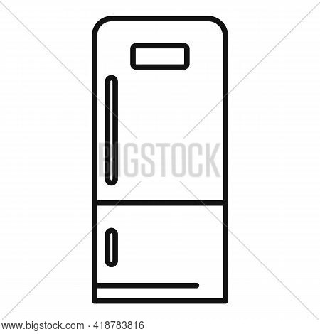 Home Fridge Icon. Outline Home Fridge Vector Icon For Web Design Isolated On White Background